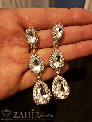 Официални кристални висящи обеци 6 см, на винт със златно или сребърно покритие - O2454