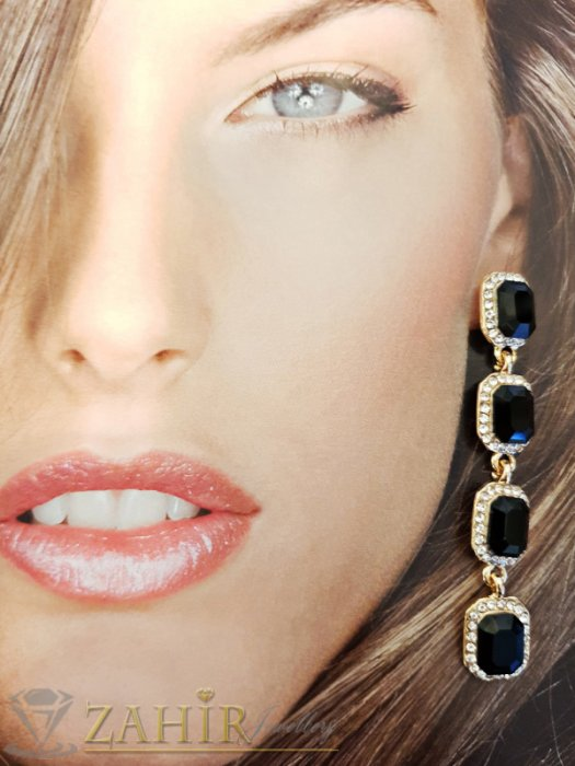 Дамски бижута - Черни кристални висящи обеци на винт 7 см в златно или сребърно покритие - O2460