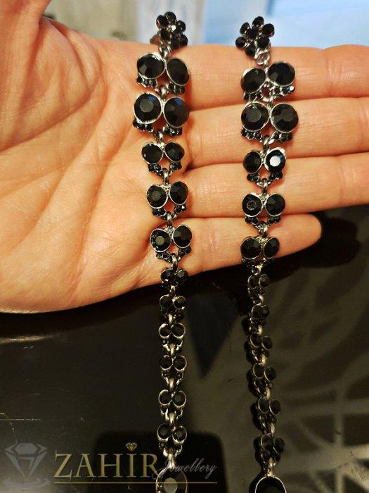 Дамски бижута - Много дълги 13 см черни висящи обеци с фасетирани кристали, на винт - O2493