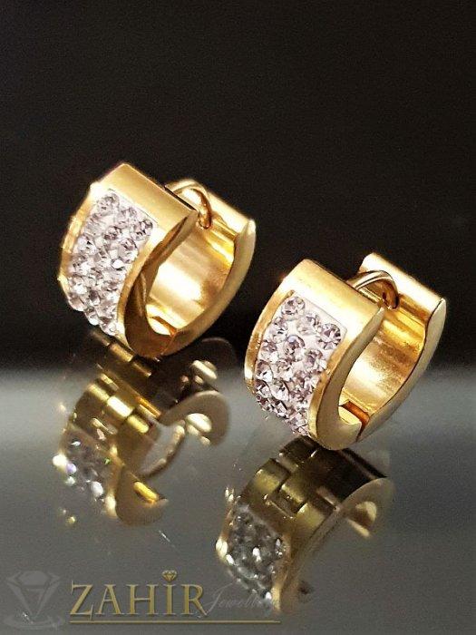 Позлатени стоманени халки 1,3 см с 2 лица с три реда бели кристали, английско закопчаване - O2506