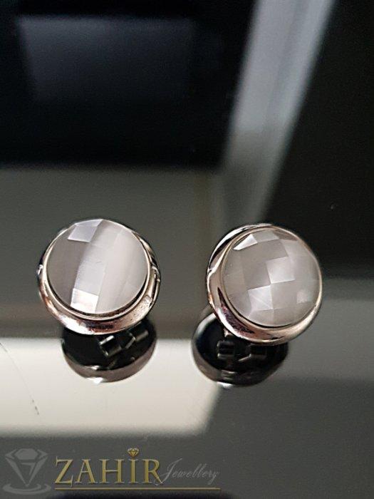 Дамски бижута - Стоманени обеци 1,8 см с млечно бял фасетиран кристал, английско закопчаване - O2514