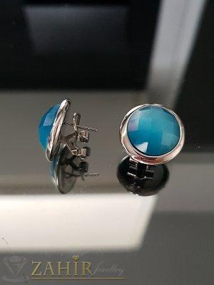 Стоманени обеци 1,8 см с млечно син фасетиран кристал, английско закопчаване - O2515