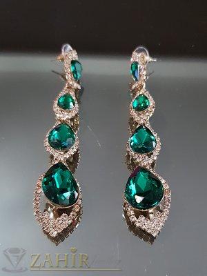 Великолепни блестящи обеци 8 см със зелени и бели кристали на винт - O2528