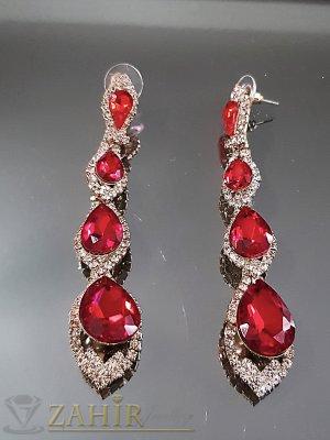 Атрактивни блестящи обеци 8 см с червени и бели кристали на винт - O2529