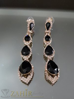 Официални блестящи обеци 8 см със черни и бели кристали на винт - O2530