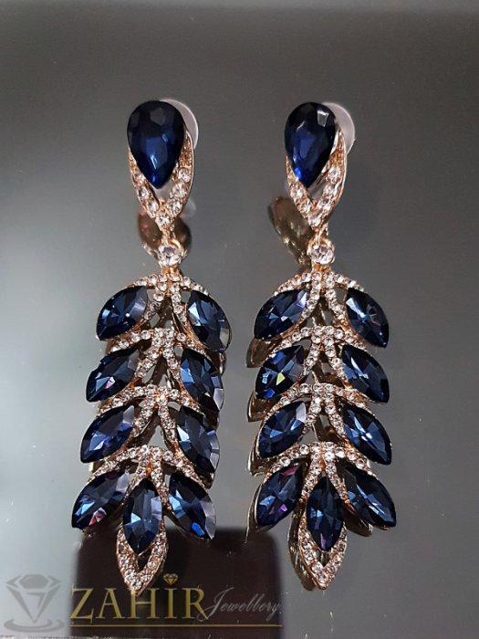 Дамски бижута - Великолепни обеци 8 см с бели и тъмносини кристали и златно покритие на винт - O2540