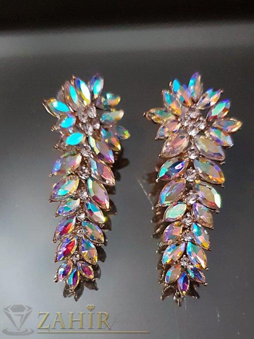 Дамски бижута - Романтични позлатени обеци 6 см с хамелеон и бели кристали на винт - O2548