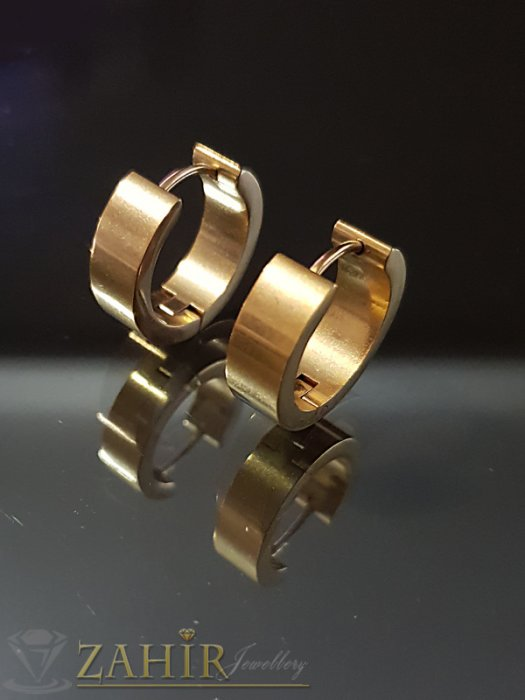 Класически стоманени позлатени халки 1,8 см, английско закопчаване - O2550