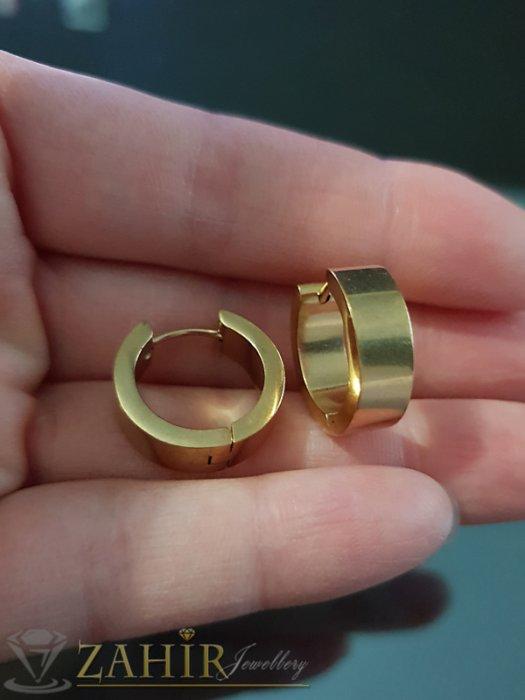 Дамски бижута - Класически стоманени позлатени халки 1,8 см, английско закопчаване - O2550