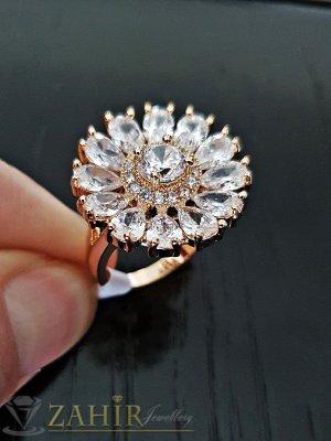 Пръстен кристално цвете с уникални циркони и двойно златно покритие - P1478