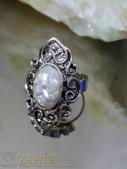Дамски бижута - Изящно изработен пръстен с бял седеф, сребърно покритие, регулиращ се размер - P1489