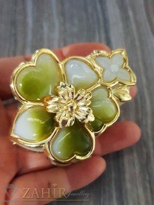 Малка маслено зелена щипка с позлатен емайл, дълга 6 см - ST1071