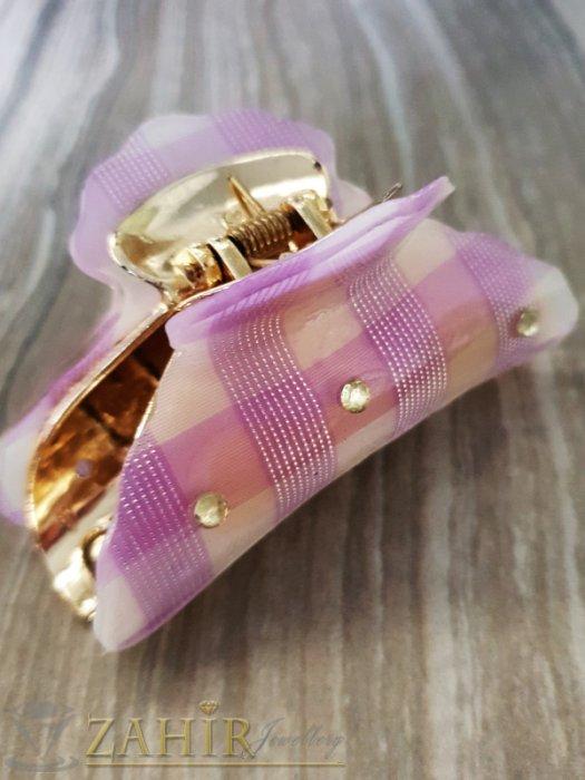 Бледо лилава щипка с кристали , дълга 9 см - ST1083