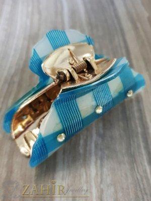 Морско синя щипка с кристали , дълга 9 см - ST1084