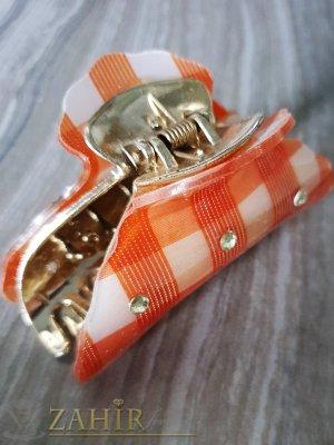 Оранжева щипка с кристали , дълга 9 см - ST1087