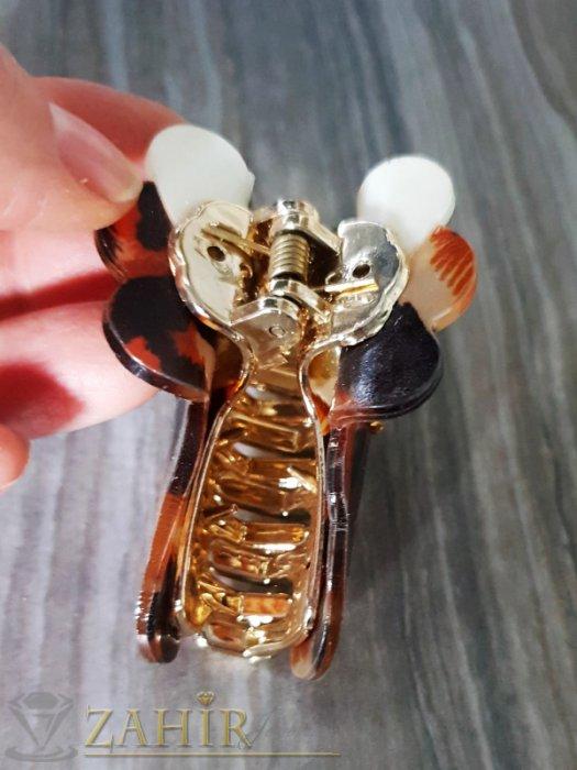 Аксесоари за коса - Бежево-кафява щипка с леопардов десен , дълга 8 см - ST1091