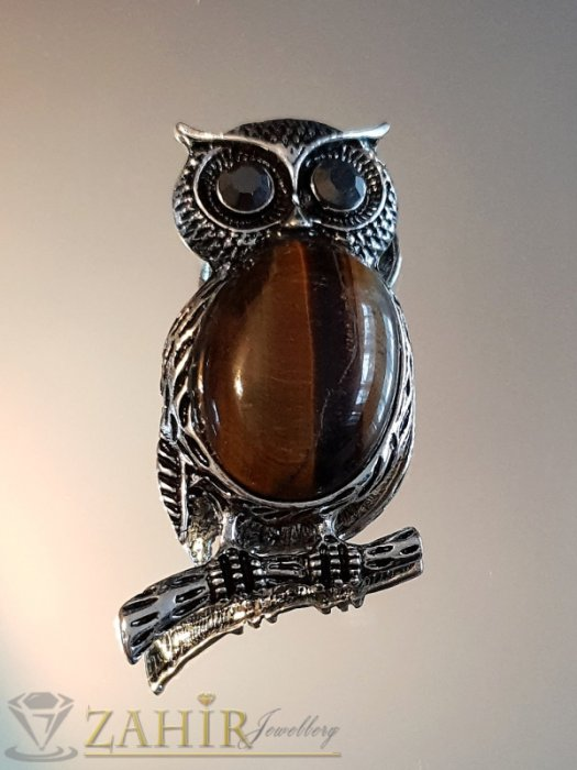 Дамски бижута - Изящна брошка сова талисман 5 на 2,5 см с голям камък тигрово око и графитени кристали за очи - B1112