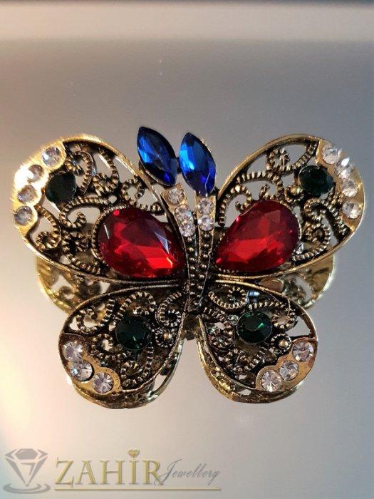 Дамски бижута - Впечатляваща многоцветна кристална брошка пеперуда 5 на 4 см, лазерно изрязана крилца, позлатена - B1114