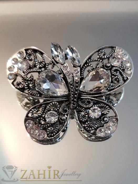 Пленителна сребриста кристална брошка пеперуда 5 на 4 см, лазерно изрязана крилца - B1115