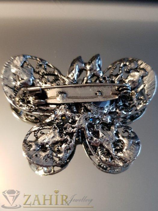 Дамски бижута - Пленителна сребриста кристална брошка пеперуда 5 на 4 см, лазерно изрязана крилца - B1115