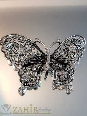 Очарователна сребриста кристална брошка пеперуда 7 на 4 см, лазерно изрязана крилца - B1116