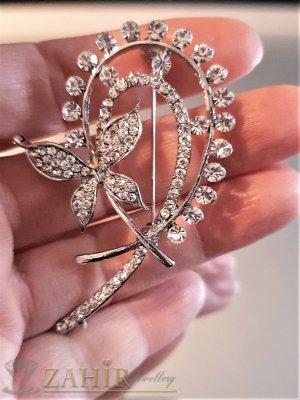 Превъзходна кристална брошка с пеперуда 6 на 3 см с многобройни бели циркони, основа стомана - B1119
