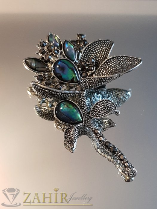 Дамски бижута - Възхитителна брошка цвете 7 на 4 см, синьо-зелен мексикански седеф и графитени кристали, изящна изработка - B1120