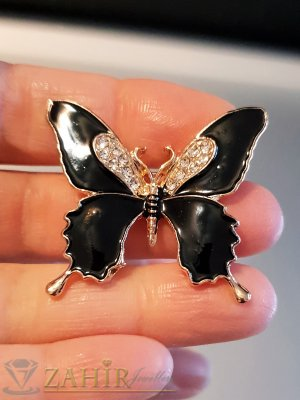 Черна емайлирана брошка пеперуда 3 на 4 см с бели кристали и златно покритие - B1128