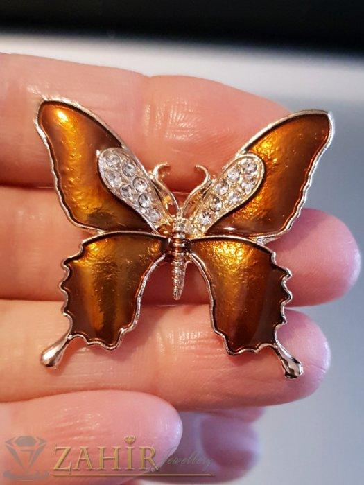 Дамски бижута - Бронзова емайлирана брошка пеперуда 3 на 4 см с бели кристали и златно покритие - B1130