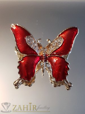 Червена емайлирана брошка пеперуда 3 на 4 см с бели кристали и златно покритие - B1133