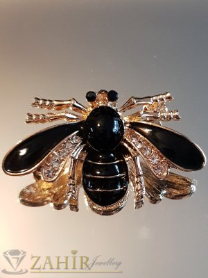 Черна емайлирана брошка пчела 4 на 2 см с бели кристали и златно покритие - B1134