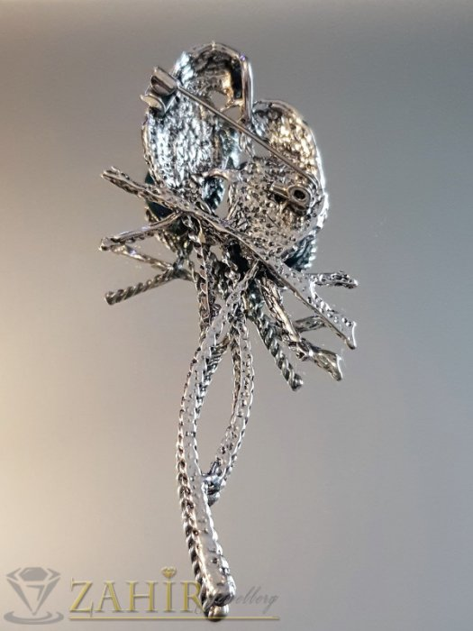 Дамски бижута - Двойка птици на брошка или висулка за колие 8 см, преливащ син седеф и графитени кристали - B1147