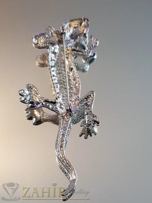 Дамски бижута - Ефектен гущер брошка 8 см с бял седеф и бели кристали, сребърно покритие - B1148