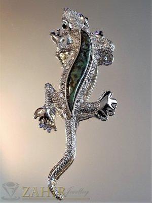 Ефектен гущер брошка 8 см с синьо зелен седеф и бели кристали, сребърно покритие - B1149