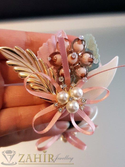 Дизайнерска арт брошка или аксесоар, 7 на 5 см, разноцветна с мъниста, перли и пандела - B1156