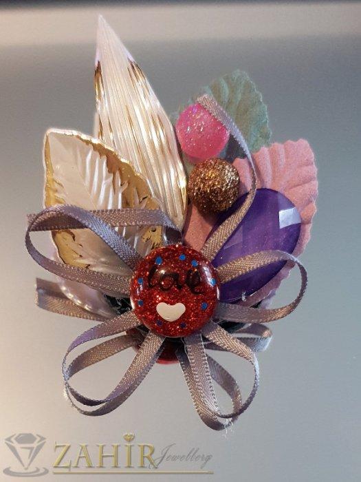 Дамски бижута - Дизайнерска арт брошка или аксесоар, 7 на 5 см, разноцветна с мъниста, топчета и пандела - B1157