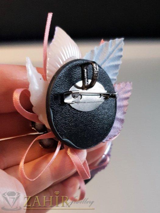 Дамски бижута - Дизайнерска арт брошка или аксесоар, 6 на 5 см, кристални мъниста, седеф и пандела - B1159