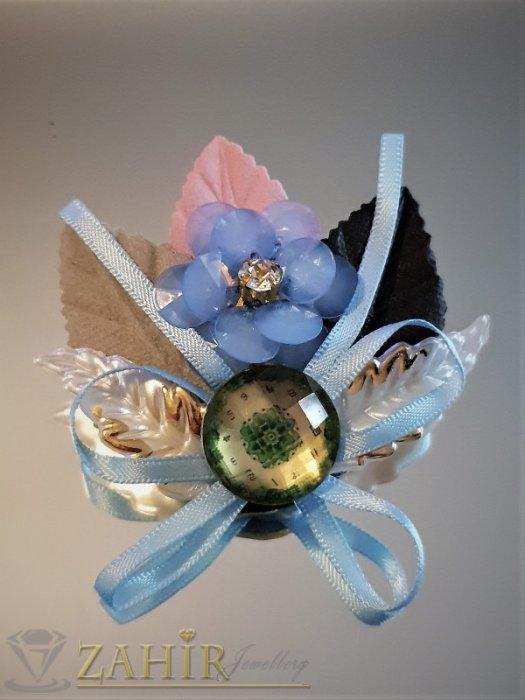 Дамски бижута - Дизайнерска арт брошка или аксесоар, 6 на 5 см, кристални мъниста, седеф и пандела - B1160
