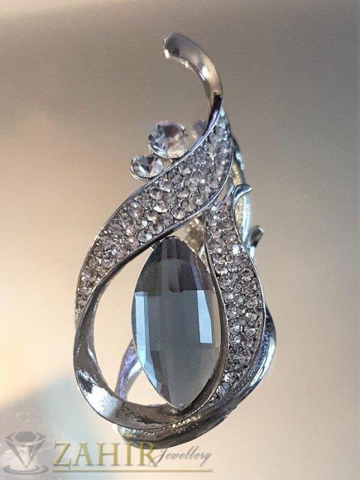 Великолепна брошка 6 на 3 см с фасетиран графитен и бели кристали, сребърно покритие - B1176