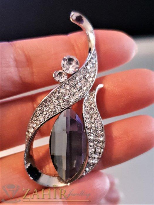 Дамски бижута - Великолепна брошка 6 на 3 см с фасетиран графитен и бели кристали, сребърно покритие - B1176