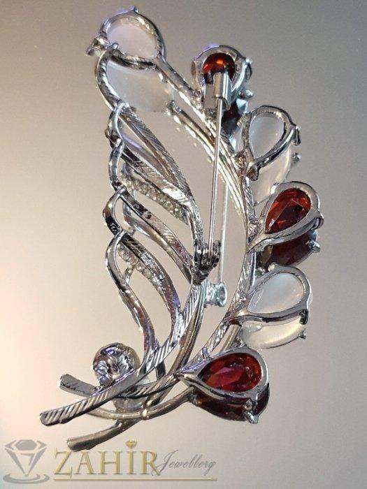 Дамски бижута - Изящно изработена брошка 7 на 3 см, с бели и вишневи кристали, сребърно покритие - B1180