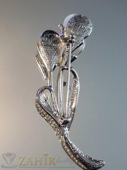Дамски бижута - Брошка цветен букет 8 на 2 см с бели кристали и бели камъни котешко око, сребърно покритие - B1181