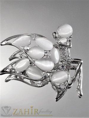 Бяла кристална брошка пеперуда 5 на 4 см с камъни котешко око и сребърно покритие - B1182