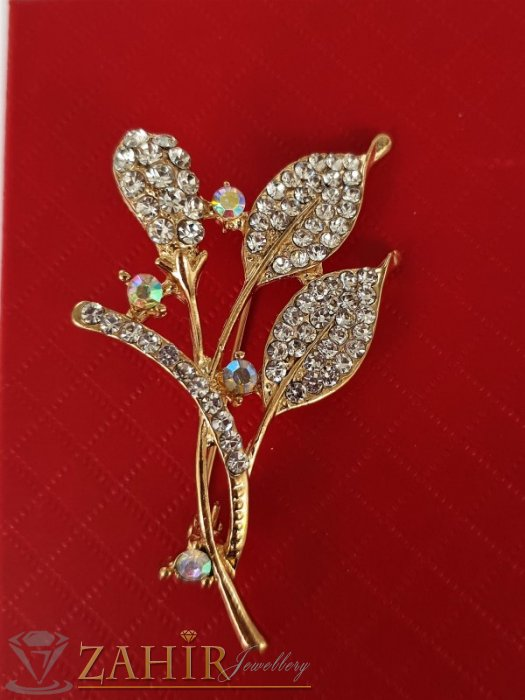 Дамски бижута - Елегантна и впечатляваща брошка кристални цветя с размери 6 на 3 см, златно покритие, бели кристали - B1187