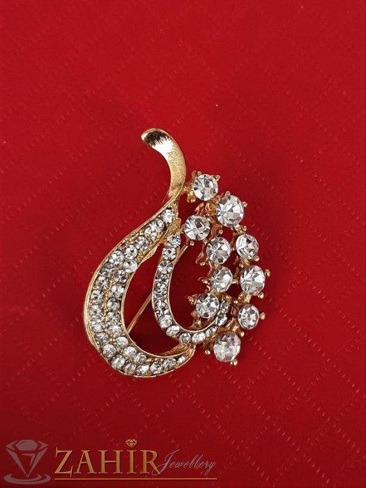 Дамски бижута - Малка нежна брошка кристални листа с размери 3 на 3 см, златно покритие, бели кристалчета - B1198