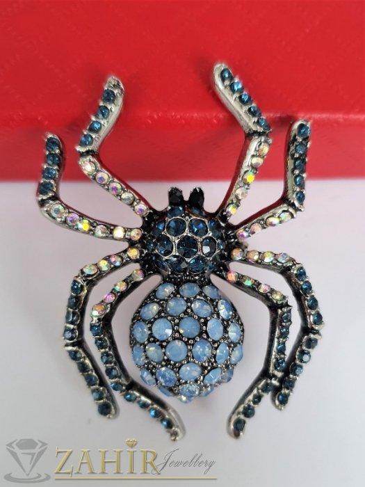Дамски бижута - Изумително красива брошка кристален паяк с холографни и преливащо сини кристали, размери 5 на 3,5 см, високо качество - B1209