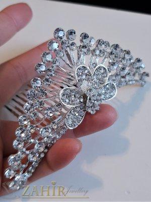Изящна кристална коронка 12 см, висока 4 см за прическа, сребриста с гребен - D1122