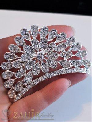 Елегантна кристална коронка 6,5 см, висока 4 см за прическа, сребриста с гребен - D1123