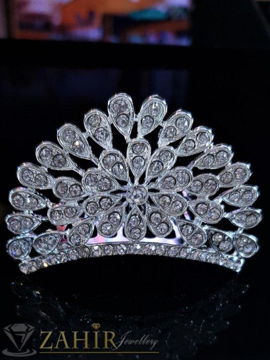 Аксесоари за коса - Елегантна кристална коронка 6,5 см, висока 4 см за прическа, сребриста с гребен - D1123