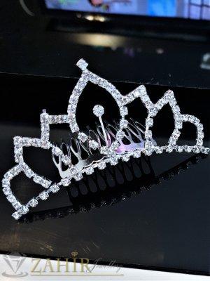 Класическа кристална коронка 10 см, висока 4 см за прическа, сребриста с гребен - D1124